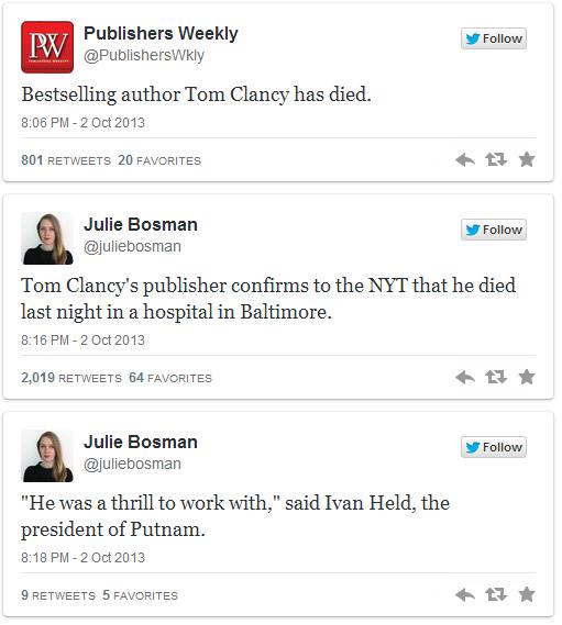 Tom Clancy Death on Twitter